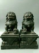 Pair 18and039and039 Bronze Home Fengshui Guard Exorcise Evil Spirits Treasure Foo Dog Lion