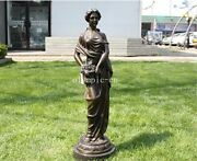 33and039and039bronze Art Sculpture A Girl Women Lady Hold Ice Cream Statue Marble Base