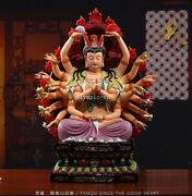 19and039and039 Collection Art White Porcelain Painting Eighteen Head Cundhi Bodhisattva