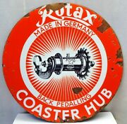 Vintage Enamel Porcelain Sign Rotex Coaster Hub Made In Germany Rare Collectible