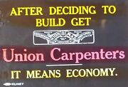 United Brotherhood Of Carpenters And Joiners Union Ad, Magic Lantern Glass Slide