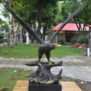 21and039and039 Bronze Sculpture Auspicious Animal Bird Of Prey Spread The Wings Hawk Eagle