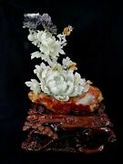 18and039and039 Serpentine Jade Xiuyan Jade Furniture Decoration Beautiful Flower Butterfly