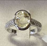 Gold Ring 18 Kt. With Diamonds And Sapphire Yellow Natural Ct. 327 With Search