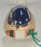 Ring Years 50and039 In Rose Gold 18kt. With Sapphire Natural Cut Cabochon Ct. 743