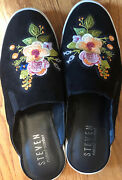 Steve By Steve Madden Slip-on Mules Embroidered Black Suede-like Material 9.5