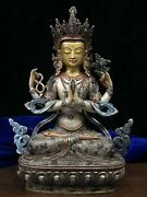 12and039and039 Tibet Bronze Gold Inlasy Silver Red Green Gem Chenrezik Practice Guanyin