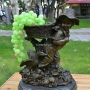 15and039and039 Bronze Modern Art Sculpture A Boy Child Back A Bamboo Basket With Duck