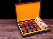 Old India Lobular Red Sandalwood Handwork Carved Play Chess Set Chinese Chess
