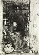 James A. M. Whistler La Vielle Aux Loques. 1858 Etching And Drypoint Framed
