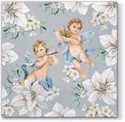 Angels In White Flowers On Silver 40pcs Lunch Paper Napkins Christmas Winter