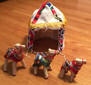 3 Stuffed Toy Camels W/ Canvas Tentpurchased In Cairo Egypt At Outdoor Market