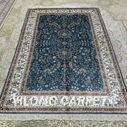 Yilong 4.5and039x6.5and039 Blue All-over Handmade Silk Area Rug Dining Room Carpet H316b