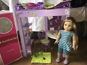 """American Girl Mckenna 18"""" Doll And Loft Bed W/accessories And Book Hampster Lamp"""
