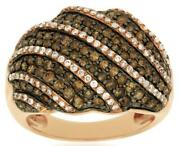 Large 1.85ct White And Chocolate Fancy Diamond 14k Rose Gold 3d Multi Row Fun Ring