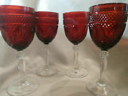 Antique 5 Ruby Red Cut Glass Clear Stem Wine/water Glasses By Cristal Dand039arque