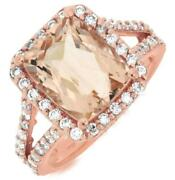 Large 5.10ct Diamond And Aaa Morganite 14kt Rose Gold Cushion Halo Engagement Ring