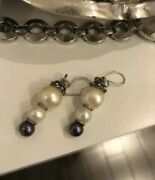 White Pearls And Black Pearl Pair Of Silver Earrings Hooks Long Dangling Style