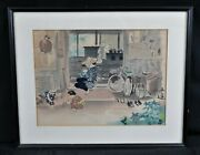 Framed Asian Watercolor Interior Of Home Mother Children Bicycle Signed C. 1950'
