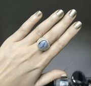 Yemeni Ring Made Of Old Silver Light Grey White Blue Agate Aqeeq Stone Shade