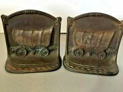 Covered Wagon Circa 1927 Copper Plated Iron Bookends Wh Howell Co 5 Tall 10/4