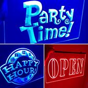 Party Time, Happy Hour, Open, 3 Led Neon Signs Game Room, Man Cave New