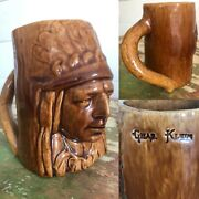 Antique 1900s American Indian Chief Cup Mug Handle Shaving Early Pottery Vtg Old