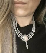 Yemeni Pink Rose Quartz Womens Necklace Chain With Pendant Made Of Old Silver