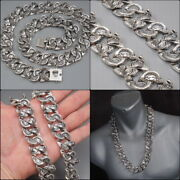 24 410g Cobra Snake Heavy Curb Link Chain 925 Sterling Silver Mens Necklace Pre