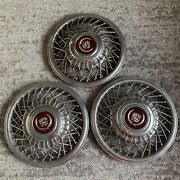 Three 86 - 88 Cadillac Deville Seville Wire Spoke Locking 15 Hubcap Cover