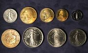 1979 France Piefort / Piedfort 9 Coin Set - Low Mintage Double Thickness Coins