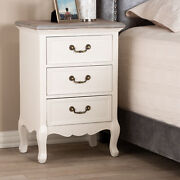 Capucine Antique-inspired French Country Cottage Brass Pulls 3-drawer Nightstand