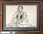 Vtg Original Watercolor Painting Native American Woman Portrait By Amy R. Stein