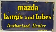 Mazda Lamp And Tubes Advertise Sign Vintage Porcelain Enamel Collectibles Rare
