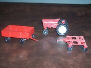 Ertl - 3 Piece Lot -vintage- International Tractor - Plow - And Trailer - Used