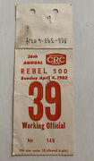 1982 Rebel 500 Working Official Media Pass Credential Ticket Stub Pit Admission
