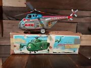 Vintage Momoya Atlantic H-5 Tin Litho Battery Op Helicopter Toy Mint With Box