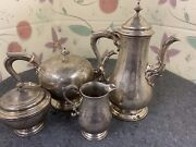 Birks Sterling Silver 4 Tea Coffee Set 75-3 Oz Hand Chased T 8