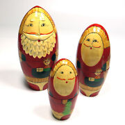 Vintage Santa Clause Nesting Dolls Wooden Hand Painted 3 Dolls Christmas 6.5