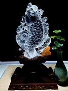 11and039and039 Natural White Rock Crystal Quartz China Feng Shui Wealth Fish Statue