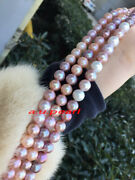 Aaaaa 4812-13mm Real South Sea White Pink Purples Multicolor Pearl Necklace 14k