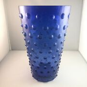 Tall Blue Glass Multiple Pulp Style Vase Rare Unique Vintage Collectible