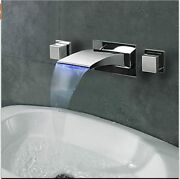 Contemporary Widespread Waterfall Wall Mount Led Bathroom Faucet - Blue Led -new