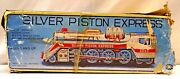 Silver Piston Express Train Old Battery Operated Engine Tin Toy Japan With Box