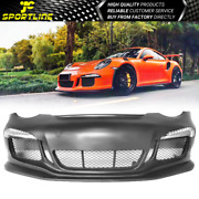 Fits 05-12 Porsche Carrera 911 997 To 991 Gt3 Rs Style Front Bumper Cover + Drl
