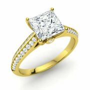 Princess-cut Natural White Topaz And Diamond Engagement Ring In 14k Yellow Gold