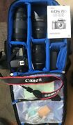 Canon Eos 70d W/3 Lenses+tripod+backpack Open Box/new