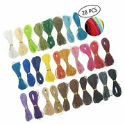 28 Pcs 1mm Assorted Color Waxed Polyester Twine Cord Macrame Bracelet Thread ...
