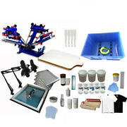 4 Color 1 Station Screen Press Silk Screen Printing Equipment And Materials Kit