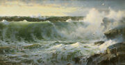 Rocky Surf Off Rhode Island Painting By William Trost Richards Art Reproduction